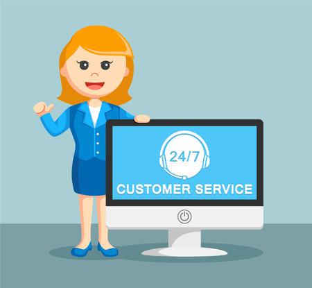 businesswoman with customer service monitor Illustration