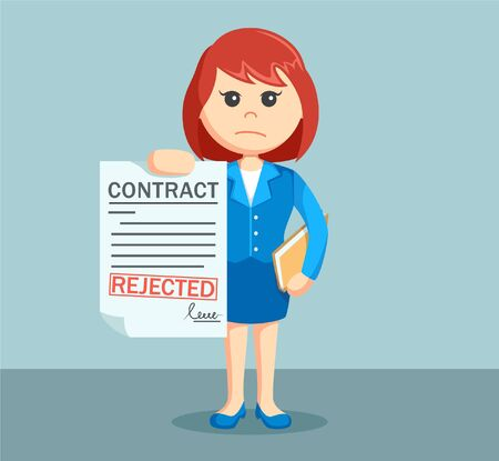 rejected: businesswoman with rejected contract