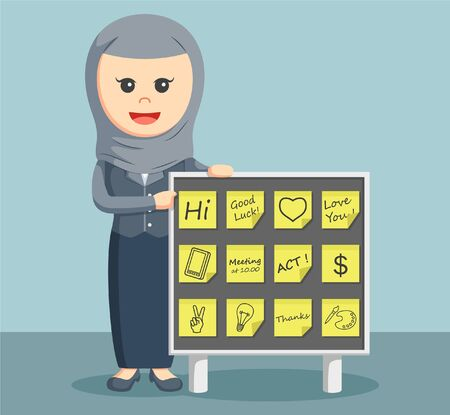 memo pad: arab businesswoman with post notes board