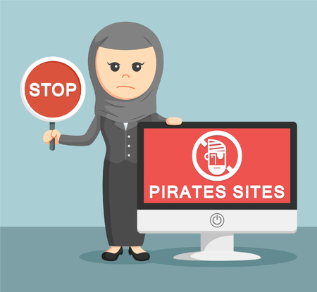 deathly: arab businesswoman with pirates sites monitor Illustration