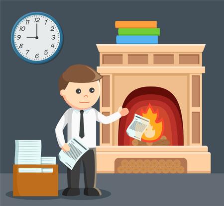 hombre de negocios la quema de su documento Ilustración de vector