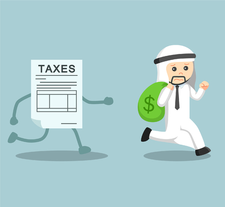 arab businessman running away with money from debt