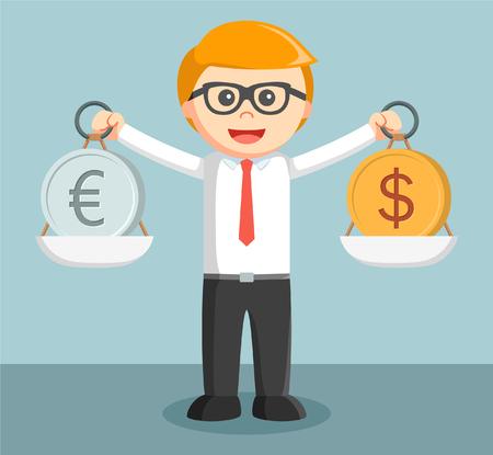 remittances: businessman balancing euro and dollar Illustration