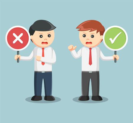 zakenman ruzie met recht verkeerd teken Stock Illustratie