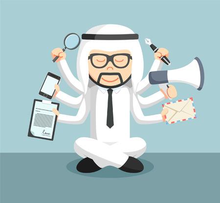 man meditating: arab businessman meditate and multitasking Illustration