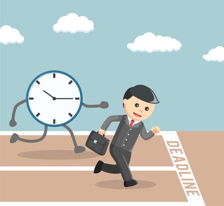 businessman race againts to the deadline Illustration