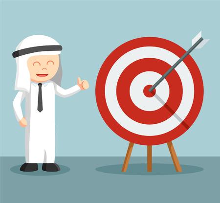 arab businessman happy on target