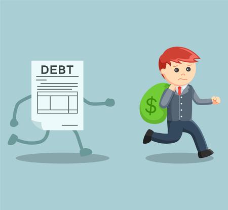 rich man: businessman running away with money from debt Illustration