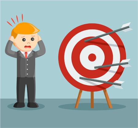 businessman panic miss target