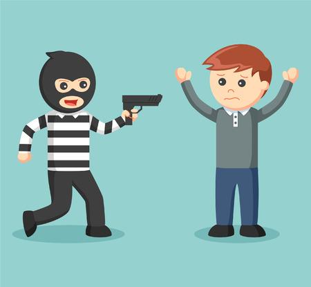 pointing gun: thief pointing gun at someone
