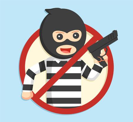 thief in forbidden sign illustration design