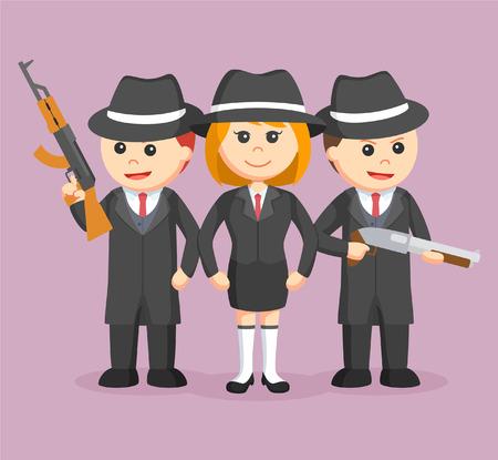 tough woman: woman mafia boss with her crews Illustration
