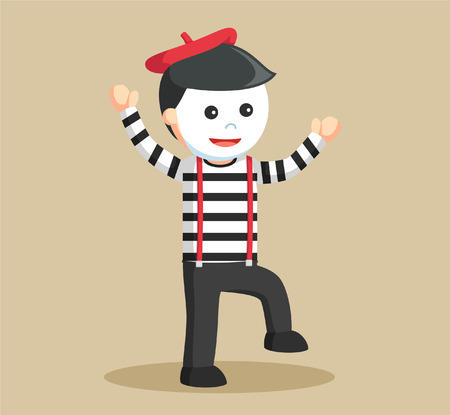 mime standing with one feet