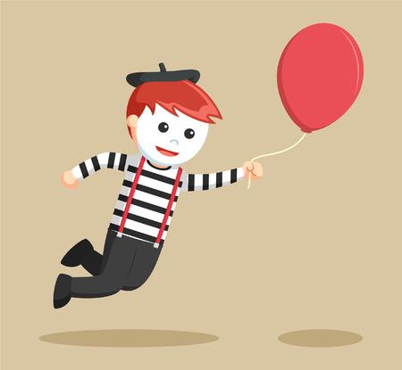 mimo: mímica de volar con el globo Vectores