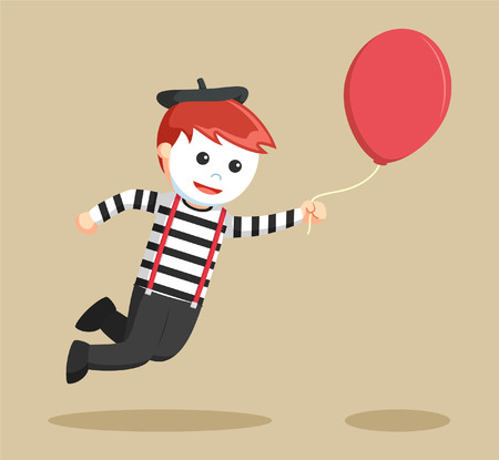 mime flying with balloon