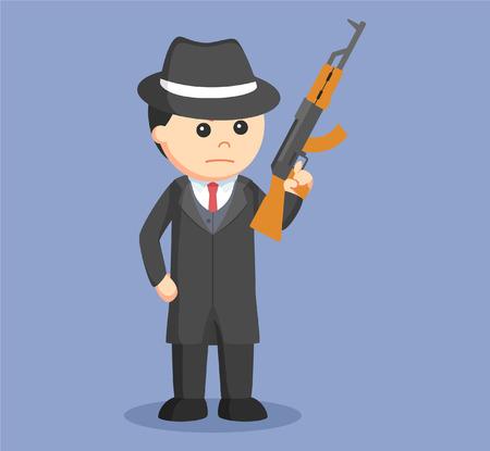 delito: mafia de fusil con la ilustración de diseño