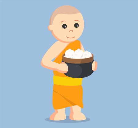 bun: monk holding basket of meat bun