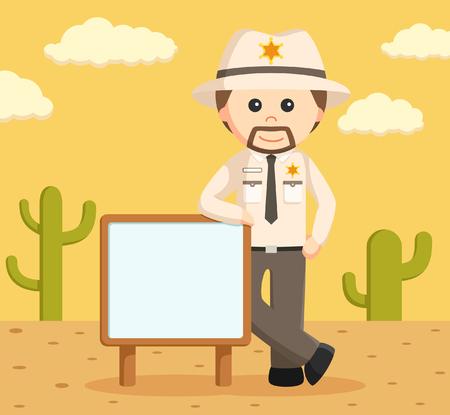 sheriffs: sheriff officer standing beside sign Illustration
