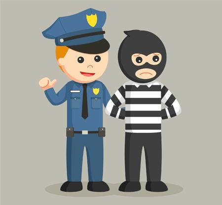 arrest: police officer arrest bank thief Illustration
