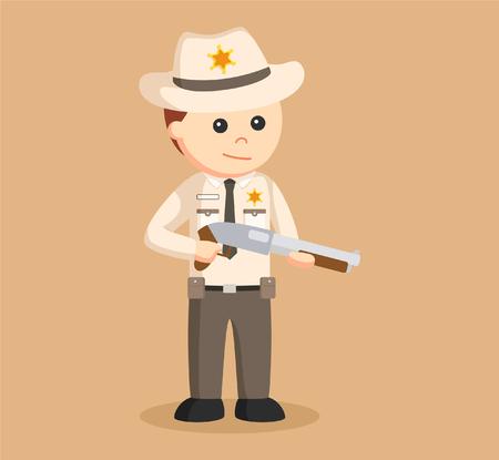 gunfighter: sheriff officer holding shotgun Illustration