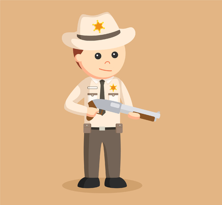 sheriff officer holding shotgun Illustration