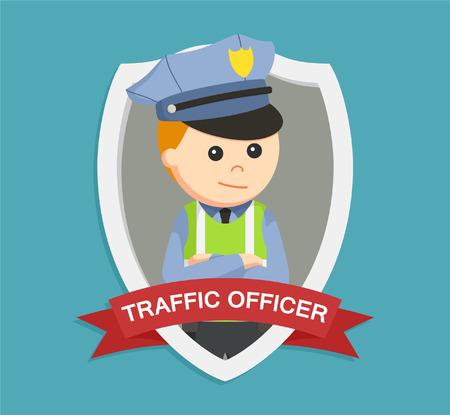 traffic police: traffic police officer in emblem colorful Illustration