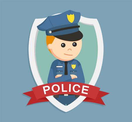 gorra policía: oficial de policía en el emblema colorido