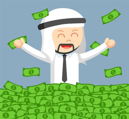 arab businessman cheerful bath in money Illustration