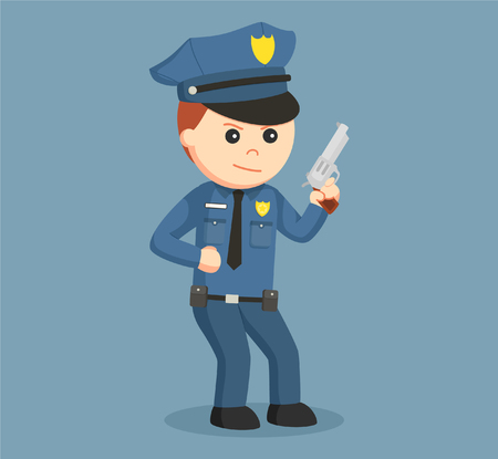police officer holding gun Illustration