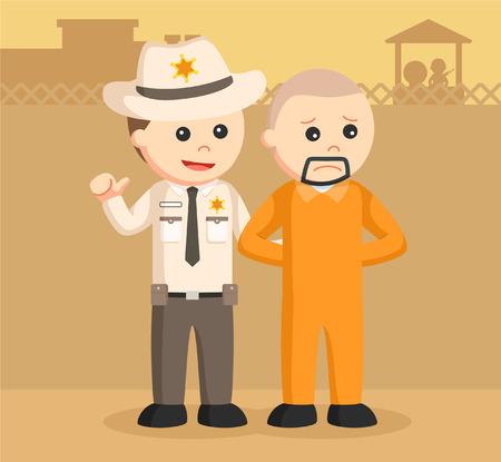 prisoner: sheriff officer arrest escaped prisoner Illustration