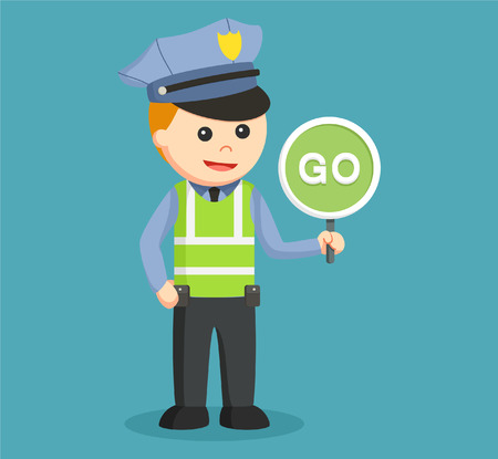 go sign: traffic police with go sign Illustration