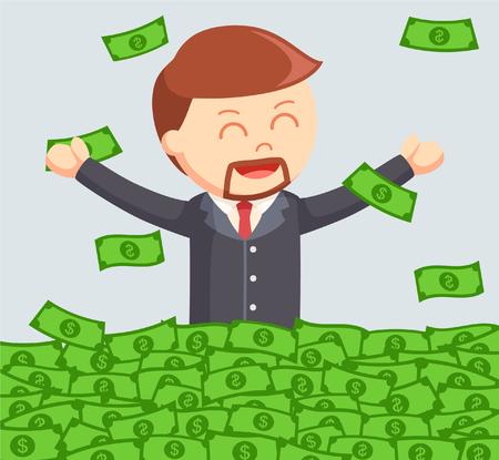 jobs people: old businessman cheerful bath in money