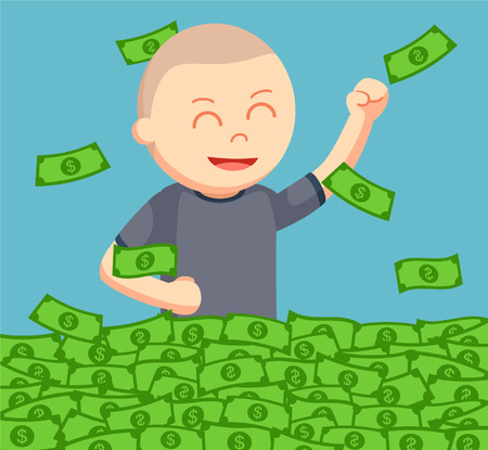 happiness or success: bald man cheerful bath in money