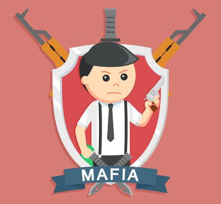 Mafia holding pistol in emblem