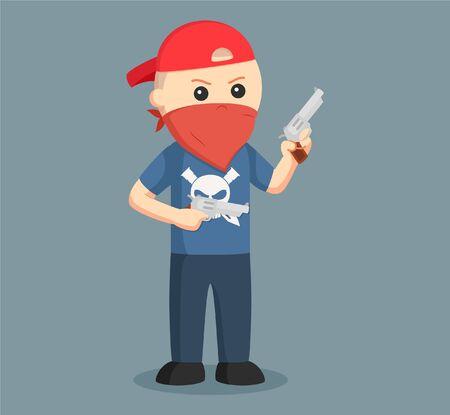Gangster wield dual pistol