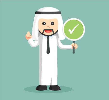 arabian man holding checklist sign vector illustration design