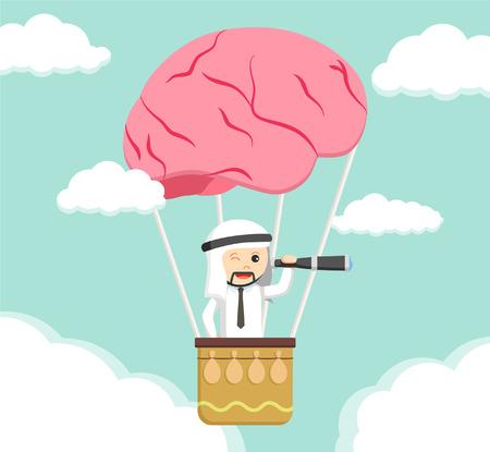 man in air: arabian man searching from brain air balloon