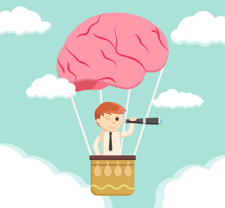 man in air: businessman man searching from brain air balloon Illustration