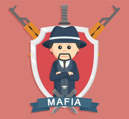 organized crime: Mafia boss in emblem Illustration