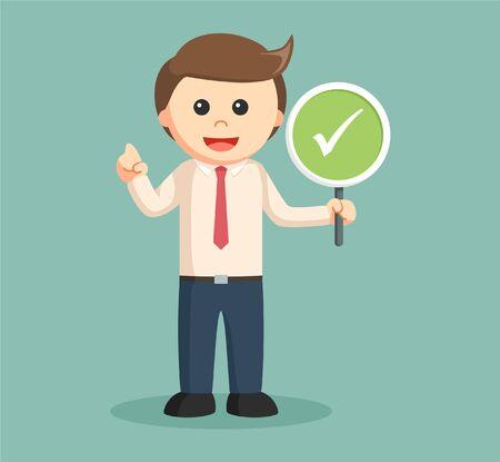 Zakenman houden checklist teken Vector Illustratie