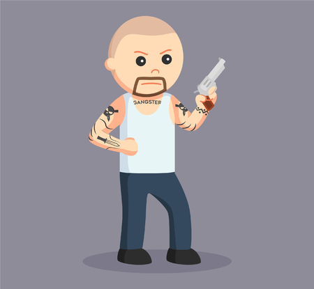 bald gangster wield pistol