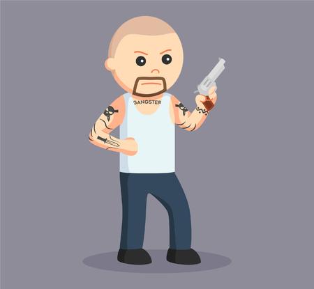 cursed: bald gangster wield pistol