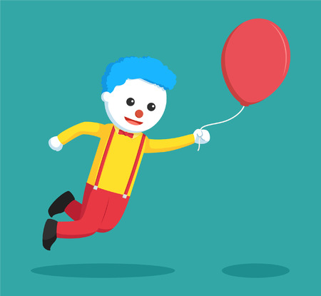 clown fly with balloon colorful