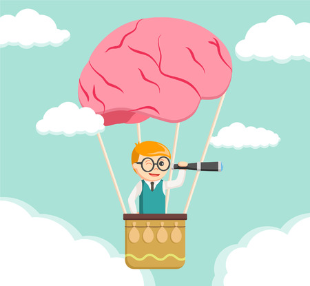 see through: Nerd search form brain air ballon Illustration
