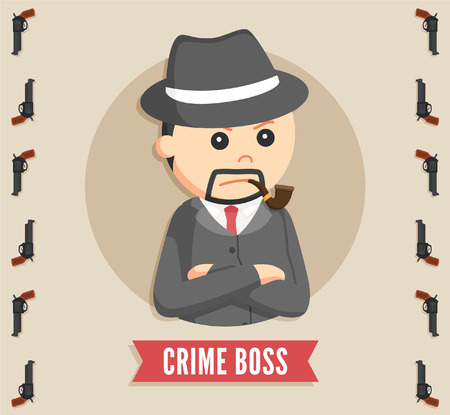 godfather: crime boss in circle logo Illustration