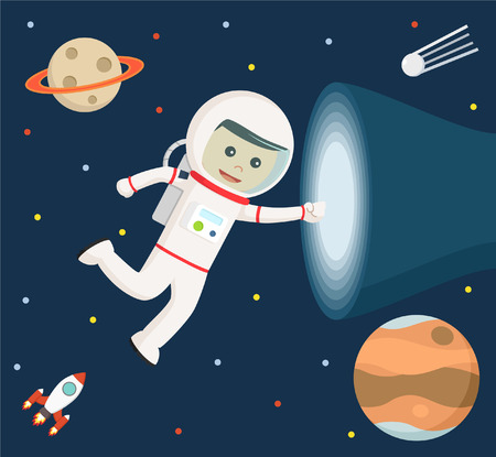 human touch: astronaut touching vortex vector illustration design Illustration