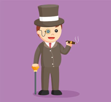 wealthy man: fat rich man with cigar Illustration