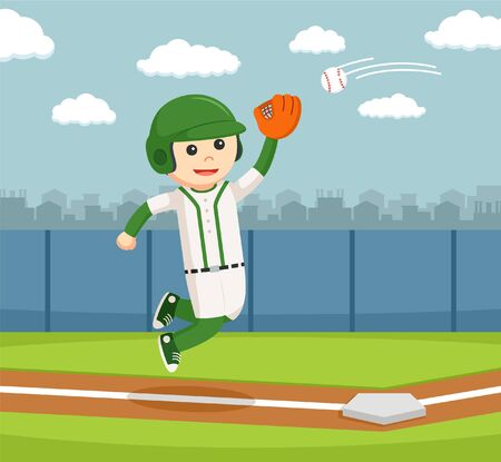 little league: jumping and catch a baseball