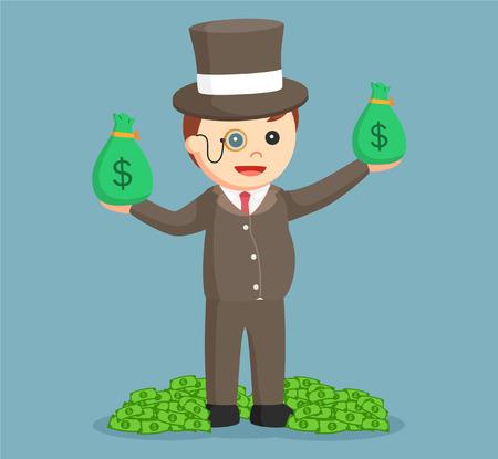 mucho dinero: rico en grasa con gran cantidad de dinero de una