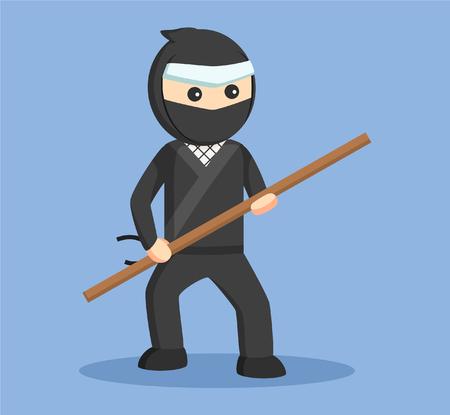 fighting stance: ninja holding stick vector illustration design
